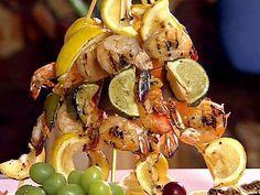 Honey and Mustard Shrimp Skewers Recipe : Danny Boome : Food Network