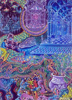 Huasi Yachana Painting...Prints for sale by the Ayahuasca visionary, Pablo Amaringo
