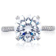 Platinum Tacori RoyalT Collection Round pave Diamond Engagement Ring