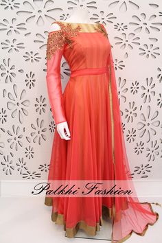Exclusive Full Flair Light Peach Silk Outfit with Elegant Top Work With Cold Shoulder Look. In real work and Design looks so Nice and elegant.