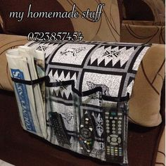 Remote control holder Remote Caddy, Remote Control Holder, Jewelry Organization, Home Organization, Messy Desk, Hanging Closet Organizer, Sewing Patterns, Sewing Ideas, Cushion Covers
