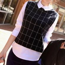 Eloqueen - Mock Two-Piece Check Blouse ( buttons on the back )