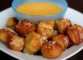 Homemade pretzel bites with natural cheese sauce