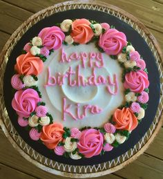 Sheet Cake Designs, Cookie Cake Designs, Cookie Cake Decorations, Cake Decorating, Birthday Cake Roses, Buttercream Birthday Cake, Buttercream Cake Designs, Giant Cookie Cake, Giant Cookie Recipes