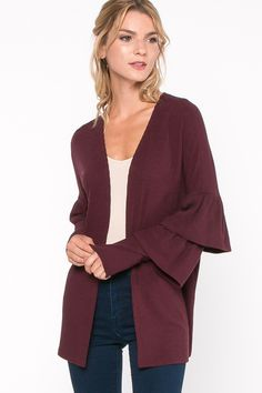 Everly Clothing Ruffle Sleeve Knit Cardigan in Burgundy T12109-BURGANDY