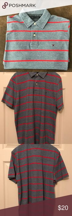NWT Tommy Hilfiger Men's Short Sleeve Striped Polo NWT unworn Tommy Hilfiger men's short sleeve striped blue with red striped cotton polo Tommy Hilfiger Shirts Polos