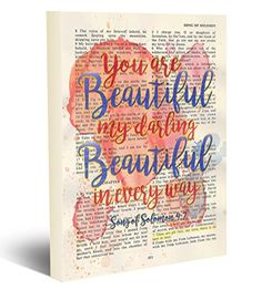 You are beautiful my darling - Song of Solomon Christian ART PRINT, UNFRAMED, Vintage Bible verse scripture -abstract watercolor wedding shower wall poster gift, inches Christian Gifts, Christian Art, Darling Songs, Bible Verses For Girls, Oldest Bible, King James Bible, Thing 1, Scripture Art, Watercolor Wedding