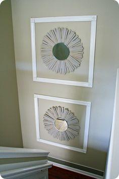Knockoff sunburst mirror.  Complete DIY at:  http://thriftydecorchick.blogspot.com/2012/07/knockoff-sunburst-mirror.html