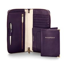 Zipped travel wallet with passport cover - Purple Deep Shine Italian Patent Calf & Cream Suede (Aspinal of London)