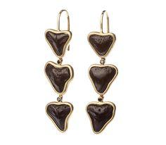 18k Gold Fossilized Shark Tooth & Black Diamond Triple Drop Earrings