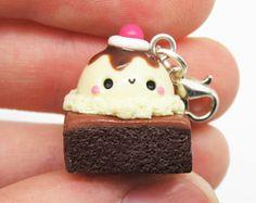 Kawaii brownie clay charm :3 #kawaii #clay #charm #polymerclay #cute #icecream #dessert #sweet #chocolate
