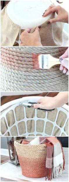Best Decor Hacks : Dollar Store Laundry Basket Turned Chic Metallic Rope Basket