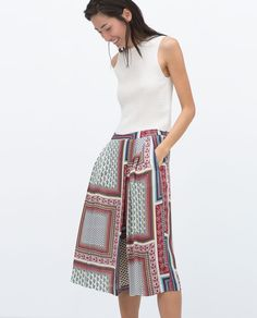 PRINTED WIDE-LEG TROUSERS-View all-Trousers-WOMAN | ZARA United States
