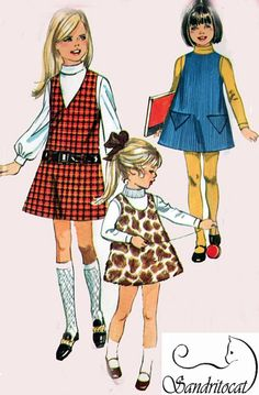 1960s Simplicity 8372 Girls MOD Jumper with Neckline Variations and Traingular Pockets  60s Vintage Sewing Pattern Size 6 UNCUT