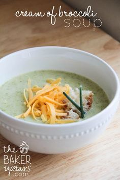 Cream of broccoli soup from The Baker Upstairs. A rich comforting soup that's good for you too! www.thebakerupstairs.com