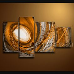 Beautiful Modern Abstract Painting Hand Painted Oil Painting Stretched Ready To Hang Abstract. This 4 panels canvas wall art is hand painted by Bo Yi Art Studio, instock - $142. To see more, visit OilPaintingShops.com