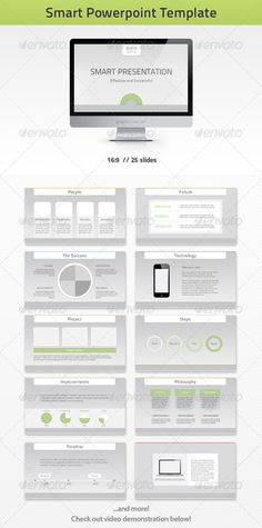 Smart PowerPoint Template  #GraphicRiver         - Smart –  Corporate looking, yet beautiful and clean looking presentation template. PowerPoint presentation is great way to present – projects, company portfolio, production, annual reports. With high customization possibilities and easy to edit. This template goes perfectly with corporate, green, technology, it and other themes.  Features include: - 16:9 aspect ratio - 25 slide layouts - Animated slides - PPTX, PPT, PNG, PSD files included…