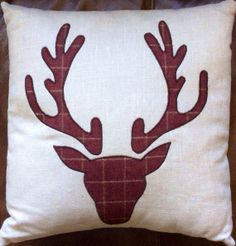 Christmas Cushion Pillow Handmade Vintage with Reindeer Appliqué on Etsy, £20.00