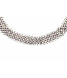 Aurora Patina Zilveren Jugendstil choker collier met honderden Zeeuwse knopjes
