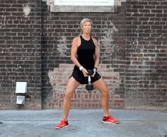 Weighted Sumo Squats - Steal this move from Carrie Underwood's personal trainer These five killer exercises will have you feeling the burn while toning your legs all over. Carrie Underwood Workout, Carrie Underwood Legs, Erin Oprea, Sup Yoga, Fit Girl Motivation, Workout Motivation, Thigh Exercises, Stretches, Excercise
