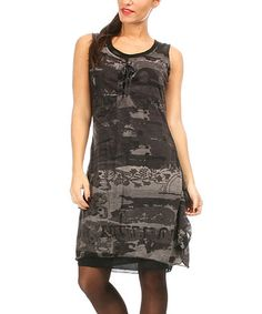 Love this Anthracite & Black Lace-Up Sleeveless Dress on #zulily! #zulilyfinds