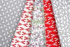 Flamingo lobster swallow & dove cotton fabric set / Zestaw tkanin ptaki i raki