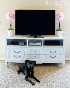two twenty one: dresser turned tv stand