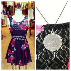 Free People floral dress with Betsy+Iya necklace.