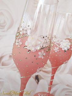 Flautas champagne copas rosas conjunto de 2 flautas de