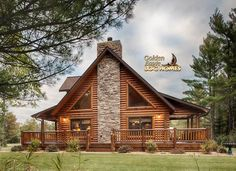 Log Home By Golden Eagle Log Homes - golden eagle log logs cabin home homes house houses rustic knotty pine custom design designs designer floor plan plans kit kits building luxury built builder complete package packages attached garage dormers saddle notch covered porch corners exterior under 2000 square foot lofted log home #LogHomeDecor
