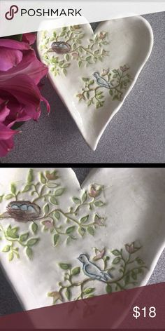 """💕 Charming bird trinket dish Handmade (by me! 😊) ceramic trinket dish for bird lovers.  Perfect for holding rings, tea bags or a cute table decoration.  Charming hand painted bird and nest.  Hand formed, hand stamped, earthenware clay, kiln fired with food-safe glaze.  Dishwasher safe.  4""""x5"""" Kismet Art Studios Accessories"""