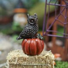 Miniature Owl on a Pumpkin Figurine - Table and Shelf Decorations - Fall and Halloween - Holiday Crafts