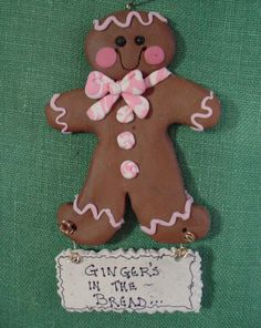 *POLYMER CLAY ~ Ornament Ginger Gingerbread Cookie Bread.