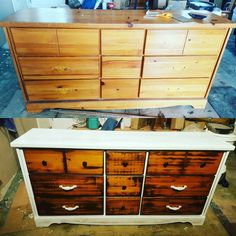 Upcycled dresser with whitewash and mahogany stain #1dayproject