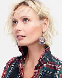 J.Crew women's perfect shirt in Stewart plaid and petal cluster drop earrings.