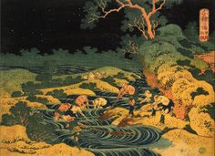 Katsushika Hokusai - Fishing by Torchlight in Kai Province, From Oceans of Wisdom - 1833 - Edo Period Discover the coolest art shows in NYC at: https://www.facebook.com/artexperiencenyc