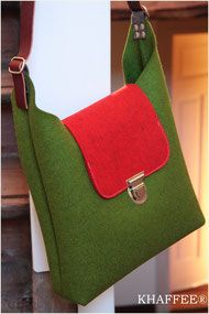 Filztasche aus Wollfilz, Umhängetasche, Schultertasche, in Deutschland mit Liebe genäht. Grün rot