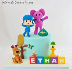 Pocoyo Cake for Ethan's Birthday. Wish everyone had good time and enjoyed the cake and cupcakes! Cake Decorating Videos, Cake Decorating Techniques, Decorating Ideas, Unique Cakes, Creative Cakes, Beautiful Cakes, Amazing Cakes, First Birthday Cakes, Boy Birthday