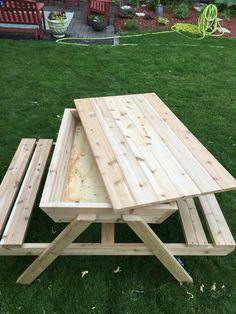 Kids Picnic Table Sand Box Cedar Ice Chest Tables Keep
