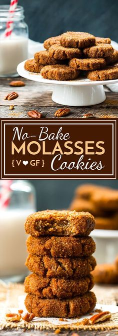 No-Bake Paleo Molasses Cookies that are also gluten free and vegan!  They make a great healthy cookie for your holiday season.