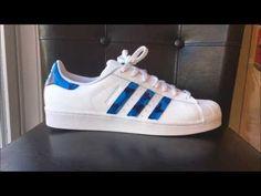 bb8a58e577045 Custom Blue Camo Adidas Superstar s w  How To!!
