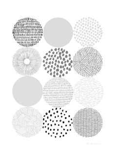 Love this mark making Circles, Open edition giclee print Eloise Renouf Boho Pattern, Pattern Art, Yellow Pattern, Circle Pattern, Retro Pattern, Grey Pattern, Pattern Mixing, Motifs Textiles, Textile Patterns