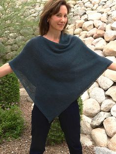 Great version of Churchmouse Yarns Seamless Folded Poncho in lightweight yarns.