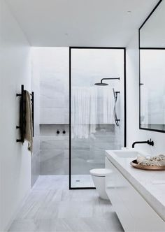 """Dipt Box """"Minimalist Bathroom"""" by Sample Dipt Design by Canny Homes Contemporary Minimalism at its finest–steel enclosed marble shower is all you really need. Powder Coated steel frames around the… Shower Niche, Shower Floor, Glass Shower, Shower Rooms, Bathroom Showers, Baby Showers, Diy Bathroom Decor, Small Bathroom, Master Bathroom"""