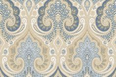 Latika Indigo (PW78031/5) - Baker Lifestyle Wallpapers - An intricately patterned elegant all over Indian inspired damask pattern.  Shown here in soft, chalky shades of cream, beige and blue. Paste the wall. Please request a sample for true colour match. Wide width.