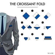 Click image to see more pocket square folding instructions. Click image to see more pocket square folding instructions. Pocket Square Folds, Pocket Square Styles, Men's Pocket Squares, Pliage Pochette Costume, Men Fashion Show, Mens Fashion, Tie Knot Styles, Handkerchief Folding, Men Style Tips