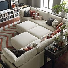 Pit Sectional from Bassett - loving the configurations of the pieces. Our kids are cuddle bugs, so this couch would be perfect for us!