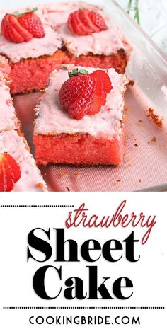 valentinesday cake Old fashioned strawberry sheet cake is bursting with strawberry flavor. Strawberry jello and fresh strawberry icing creates an explosion of color and taste. Strawberry Sheet Cakes, Strawberry Cake Recipes, Strawberry Icing, Cupcake Recipes, Dessert Recipes, Yummy Recipes, Strawberry Sheet Cake Recipe From Scratch, Homemade Strawberry Cake, Cupcakes