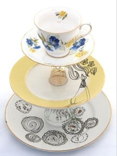Upcycled cake stand with plates, tea cup and egg cups!