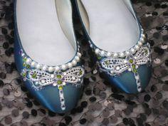 Art Deco Jewel Tone Dragonfly Ballet Flats by BeholdenBridal, $145.00